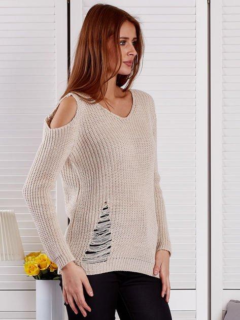 Beżowy sweter z dziurami                                  zdj.                                  5