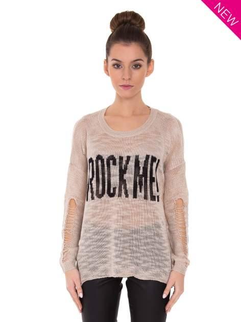 Beżowy sweter z nadrukiem i efektem destroyed                                   zdj.                                  1