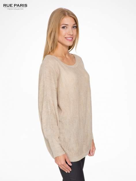 Beżowy sweter z nietoperzowymi rękawami                                  zdj.                                  3
