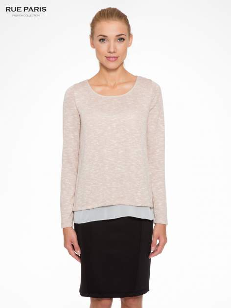 Beżowy sweter z rozcięciem z tyłu                                  zdj.                                  1