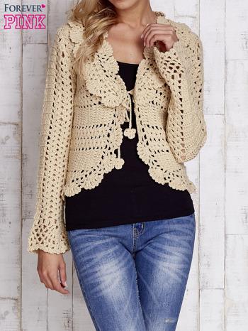 Beżowy sweter z wiązaniem                                  zdj.                                  1