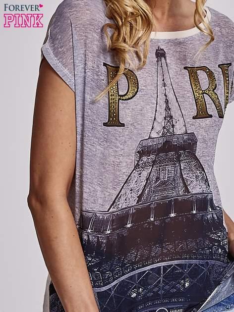 Beżowy t-shirt z motywem Wieży Eiffla                                   zdj.                                  5