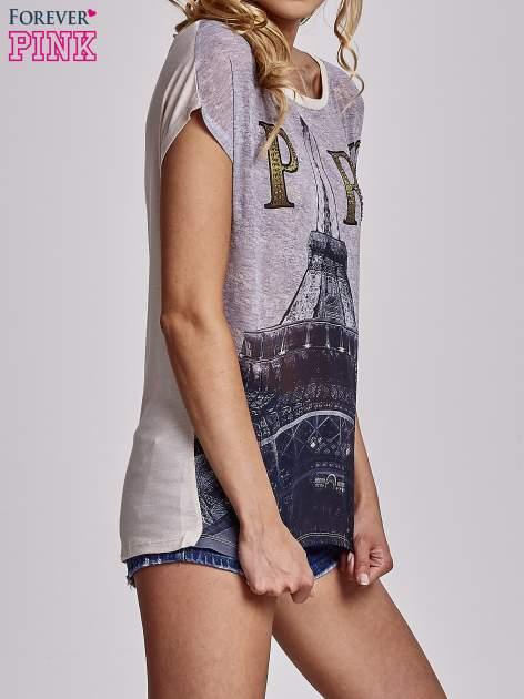 Beżowy t-shirt z motywem Wieży Eiffla                                   zdj.                                  3