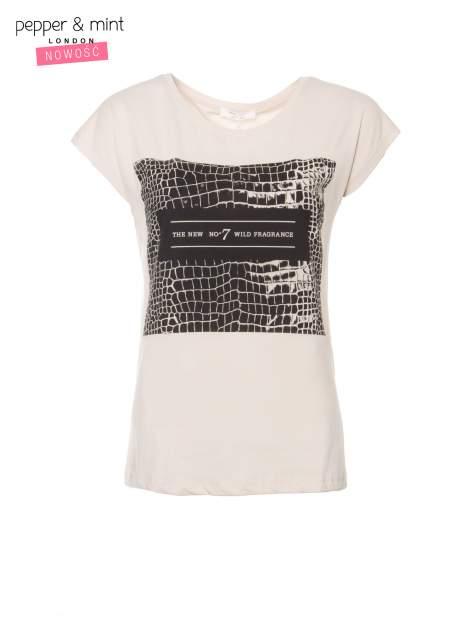 Beżowy t-shirt z motywem zwierzęcym                                  zdj.                                  2