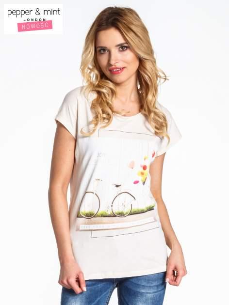 Beżowy t-shirt z nadrukiem JOY OF LIFE                                  zdj.                                  1