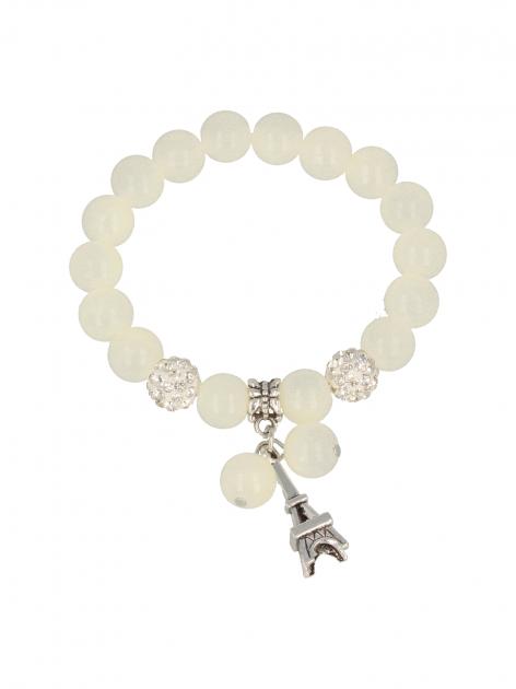 Biała Bransoletka koralikowa z zawieszką w kształcie wieży eiffla                                  zdj.                                  2