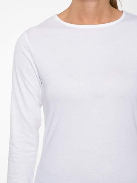 Biała bawełniana bluzka typu basic z długim rękawem                                  zdj.                                  6