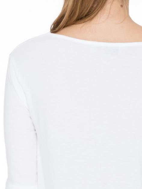Biała bawełniana bluzka z gumką na dole                                  zdj.                                  5