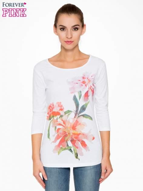 Biała bawełniana bluzka z motywem kwiatowym