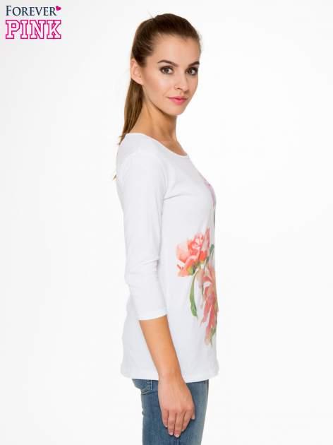 Biała bawełniana bluzka z motywem kwiatowym                                  zdj.                                  3