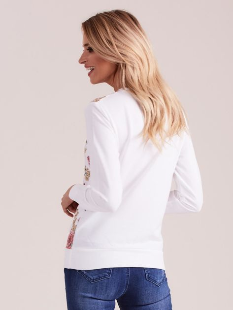 Biała bluza damska w kwiaty                              zdj.                              2