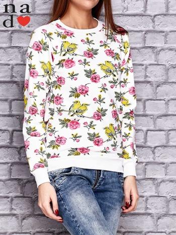 Biała bluza z kwiatowymi motywami                                  zdj.                                  3