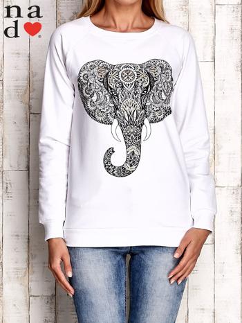 Biała bluza z nadrukiem słonia