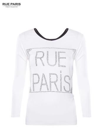 Biała bluzka RUE PARIS z cyrkoniami                                   zdj.                                  1