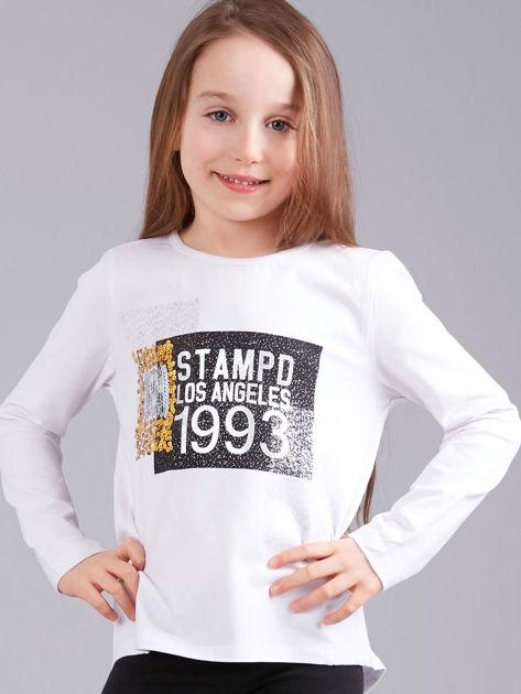 Biała bluzka dziewczęca z nadrukiem i cekinami