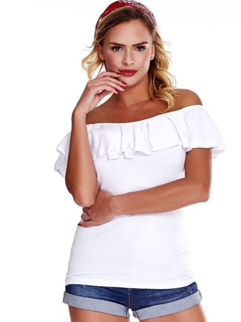 Biała bluzka hiszpanka z falbaną                              zdj.                              1