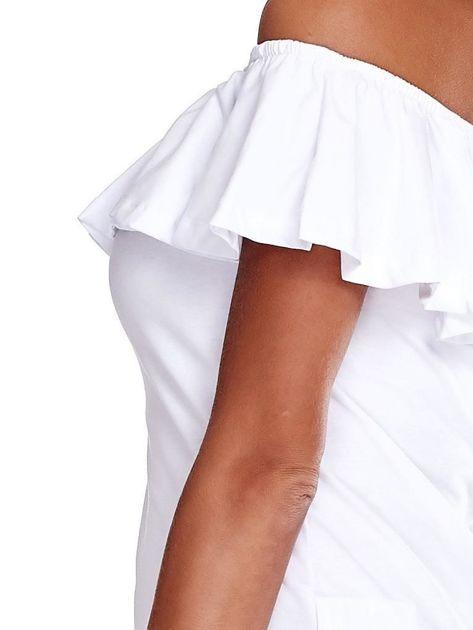 Biała bluzka hiszpanka z falbaną                              zdj.                              5