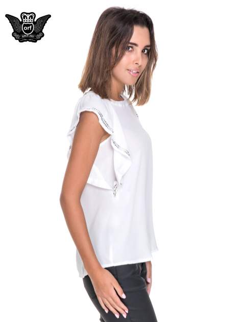 Biała bluzka koszulowa motylek z cekinami                                  zdj.                                  3