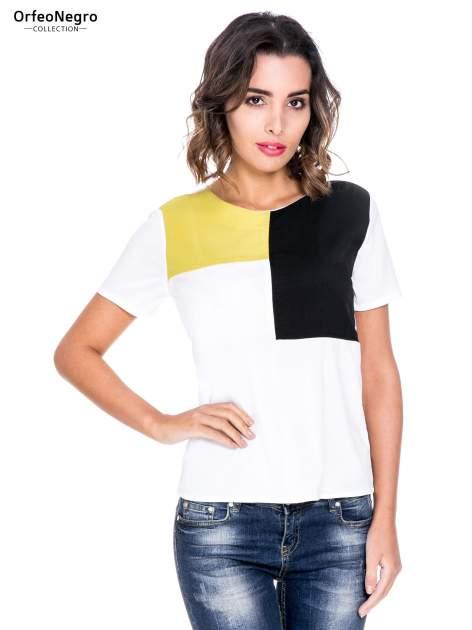 Biała bluzka koszulowa z geometrycznym wzorem                                  zdj.                                  1