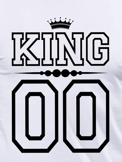 Biała bluzka męska dla par z nadrukiem KING na plecach                                  zdj.                                  2