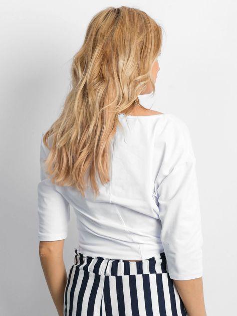 Biała bluzka oversize z napisem SUPER                               zdj.                              2
