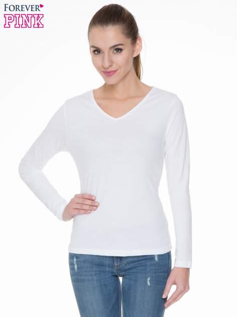 Biała bluzka z długim rękawem z bawełny                                  zdj.                                  1