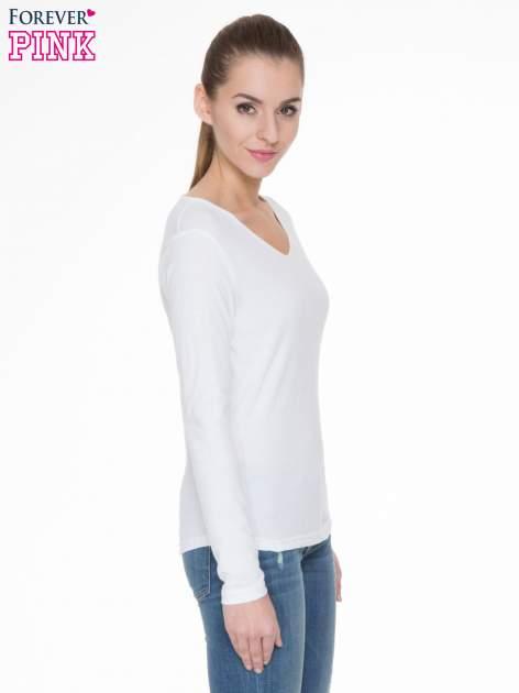 Biała bluzka z długim rękawem z bawełny                                  zdj.                                  3