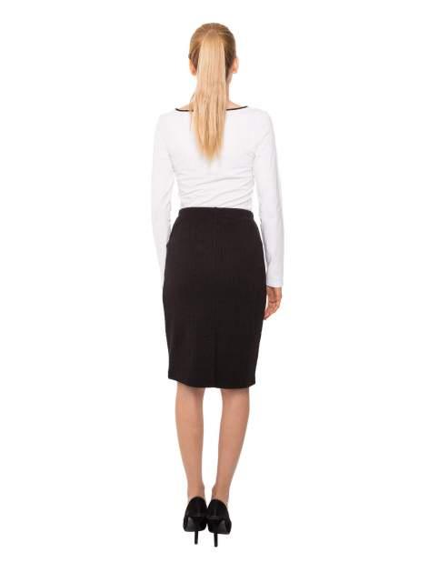 Biała bluzka z kontrastową lamówką z dekoltem w łezkę                                  zdj.                                  3