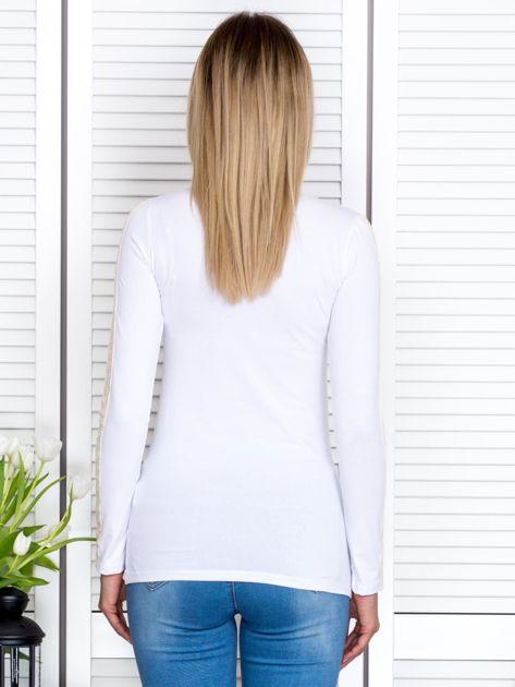 Biała bluzka z koronkową taśmą                               zdj.                              2