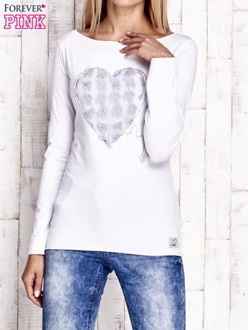 Biała bluzka z materiałową wstawką                                  zdj.                                  1