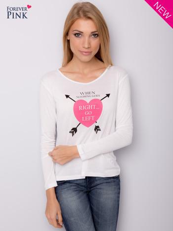 Biała bluzka z nadrukiem serca                                  zdj.                                  2