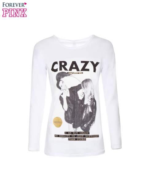 Biała bluzka z napisem CRAZY i nadrukiem fashionistek                                  zdj.                                  5
