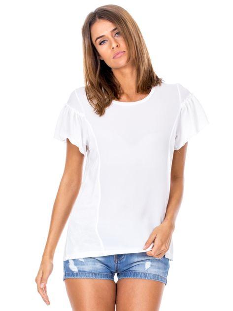 Biała bluzka z szerokimi rękawami                              zdj.                              1