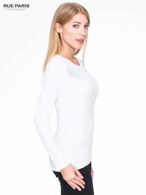 Biała bluzka z tiulowym karczkiem                                  zdj.                                  3