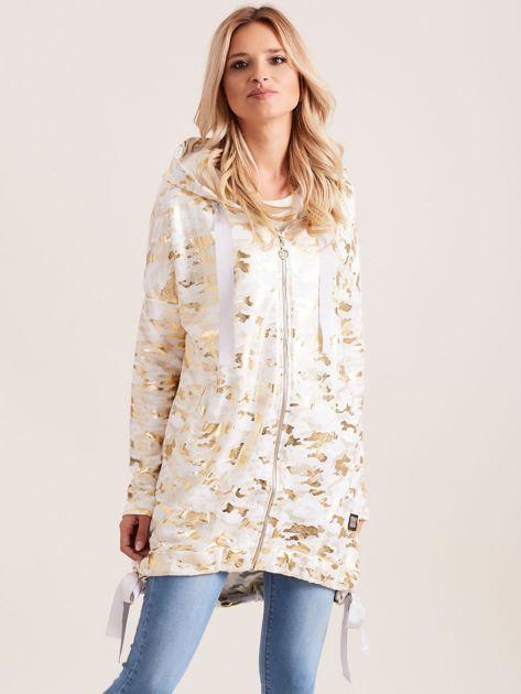 Biała błyszcząca dresowa bluza z kapturem                              zdj.                              1