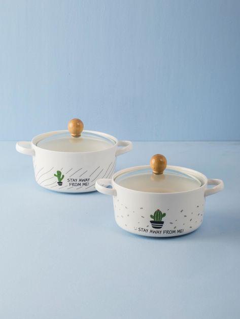 Biała ceramiczna miska z pokrywką