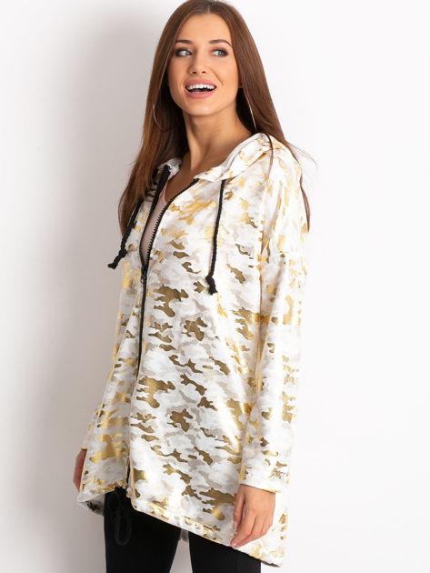 Biała damska bluza z kapturem ze złotym połyskiem                              zdj.                              3