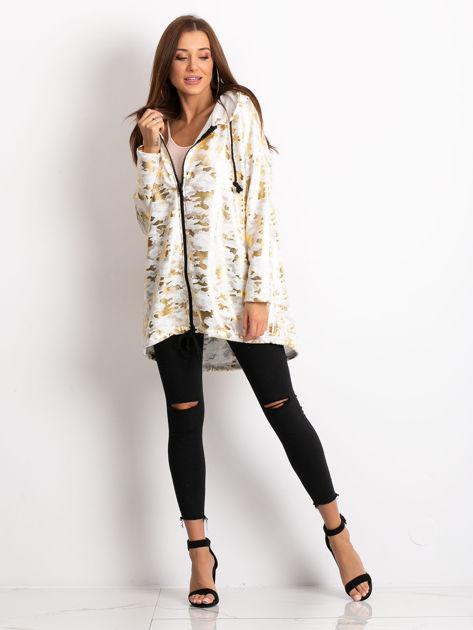 Biała damska bluza z kapturem ze złotym połyskiem                              zdj.                              4