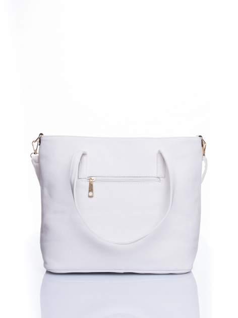 Biała fakturowana torba shopper bag                                  zdj.                                  3