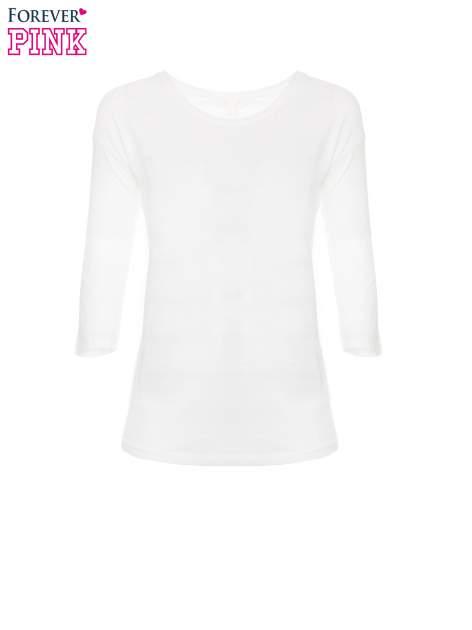 Biała gładka bluza z bawełny z rękawami 3/4                                  zdj.                                  5