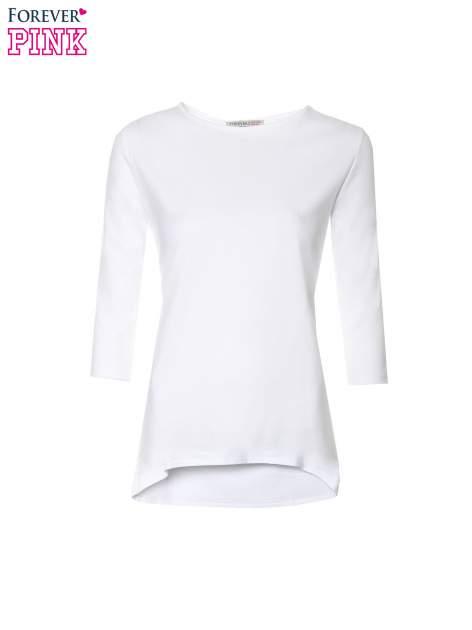 Biała gładka bluzka z dłuższym tyłem                                  zdj.                                  5