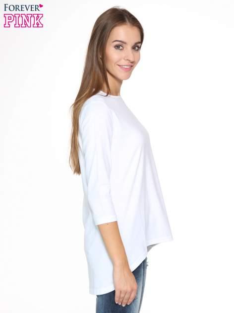Biała gładka bluzka z dłuższym tyłem                                  zdj.                                  3