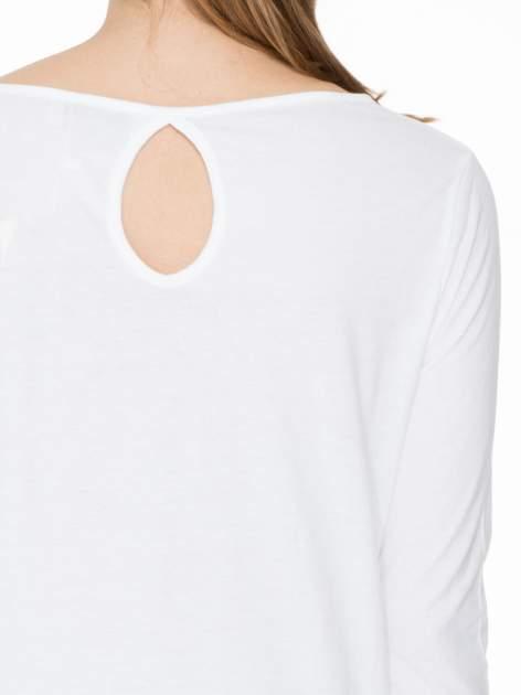 Biała gładka bluzka z łezką z tyłu                                  zdj.                                  5