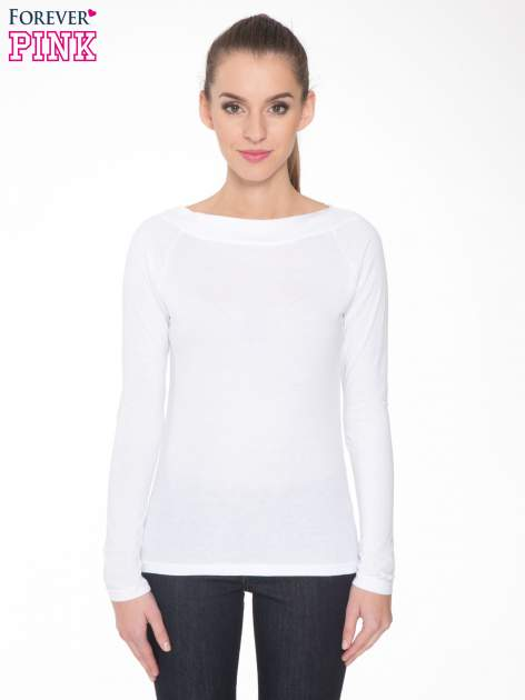 Biała gładka bluzka z reglanowymi rękawami                                  zdj.                                  1