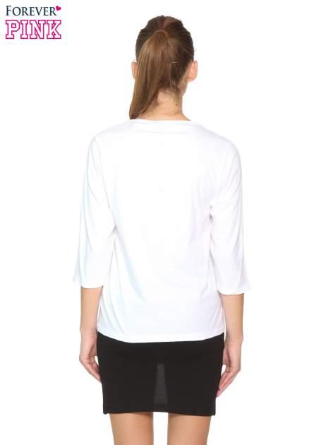 Biała gładka bluzka z rękawem 3/4                                  zdj.                                  4