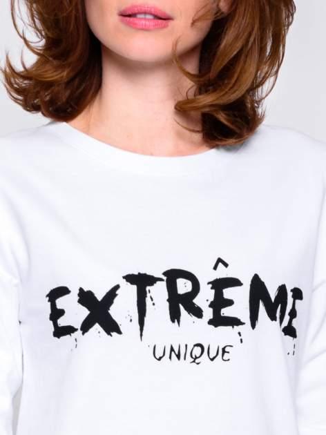 Biała klasyczna bluza damska z napisem EXTRÉME UNIQUE                                  zdj.                                  5