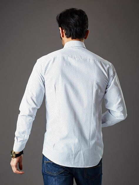 Biała koszula męska o klasycznym kroju we wzory                              zdj.                              2