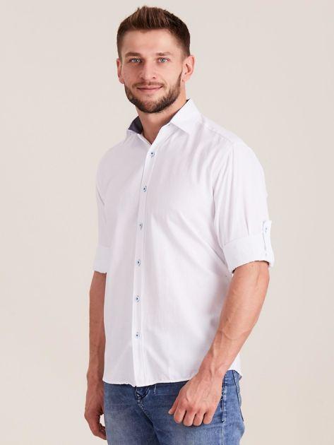 Biała koszula męska o regularnym kroju                              zdj.                              3