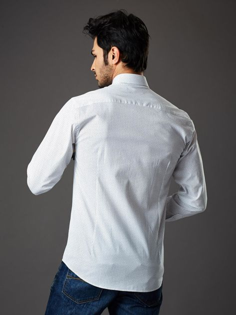 Biała koszula męska regular fit w drobne geometryczne wzory                              zdj.                              2
