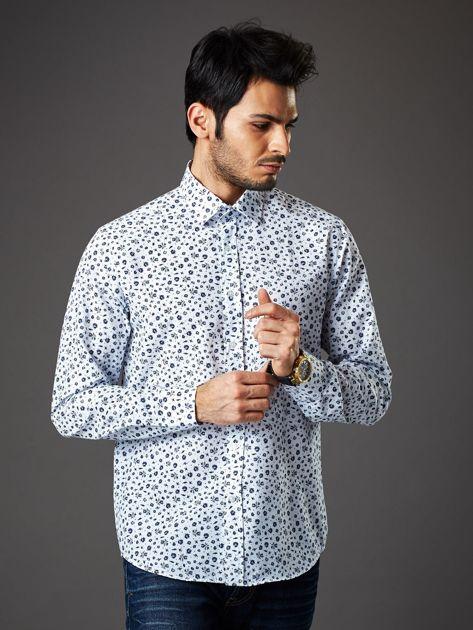 Biała koszula męska regular fit w roślinny wzór                              zdj.                              1
